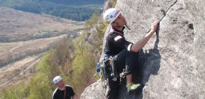 rock climbing and abseiling at dinas rock